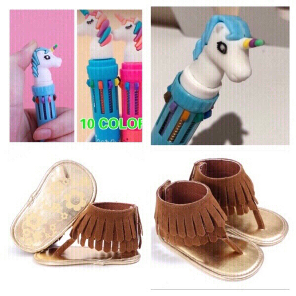 Used Baby sandals 3M & unicorn color pen in Dubai, UAE