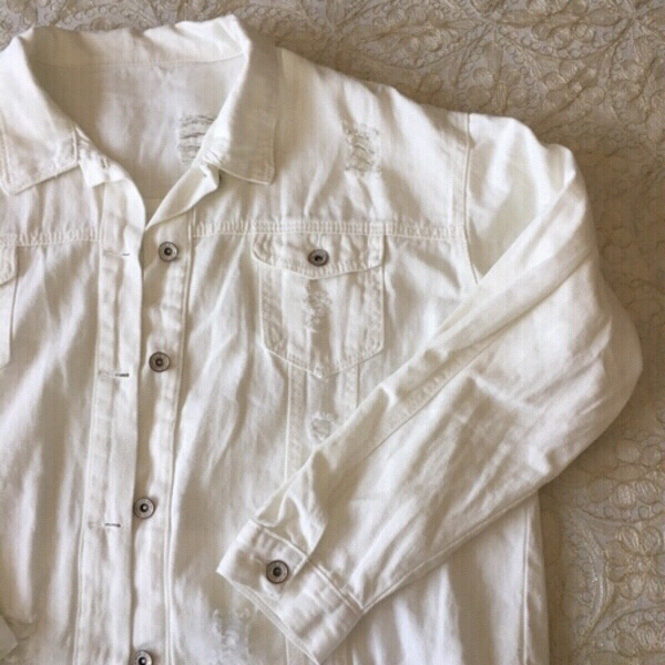 Used Brand new distressed white denim jacket in Dubai, UAE