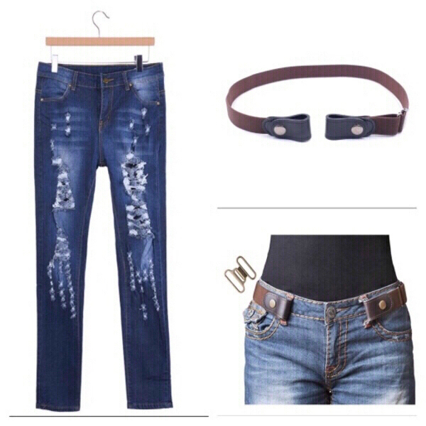 Used Stretch jeans size M with belt in Dubai, UAE
