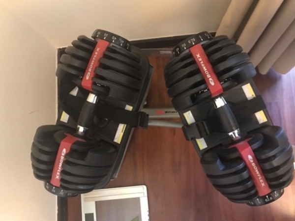 Used Bowflex Dumbbells with stand in Dubai, UAE