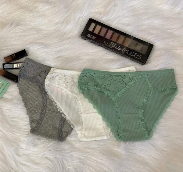 Used 3 panties cotton with lace fabric (new) in Dubai, UAE