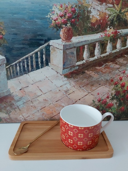 Used Red cup and tray with spoon in Dubai, UAE