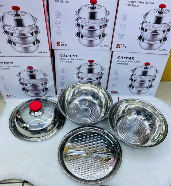 Used Stainless Steel Basin 4pcs Set in Dubai, UAE
