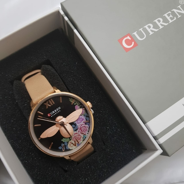 Used Curren women quartz watch leather strap in Dubai, UAE
