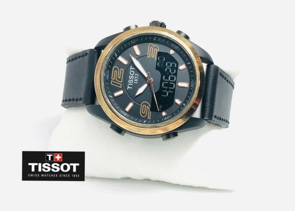 Used Tissot mens leather watch Gold/black in Dubai, UAE